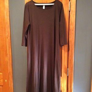 Zenana Premium 3/4 sleeve brown dress